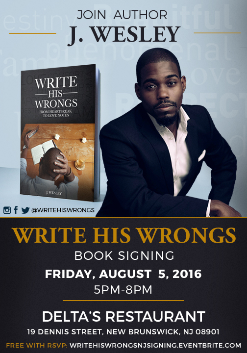 Write his wrongs new jersey book signing for Book signing poster template
